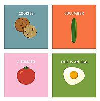 רביעיית הדפסים של אוכל