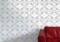 טפט בסגנון וינטאג' רומנטי כחול על רקע לבן