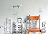 טפט בניינים מטוס ועננים